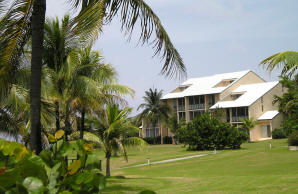 A view of the beachfront building where Caribbean Breeze is located.